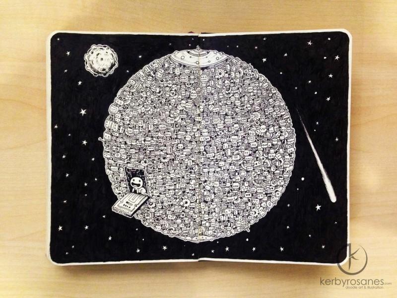 Непростые рисунки в блокноте Кэрби Розанеса