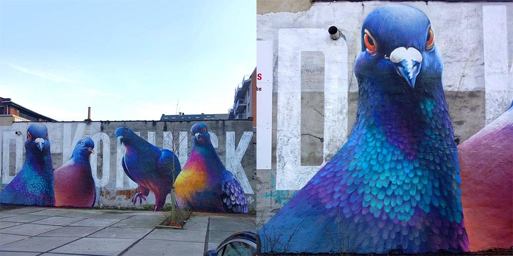 Граффити с птицей мира