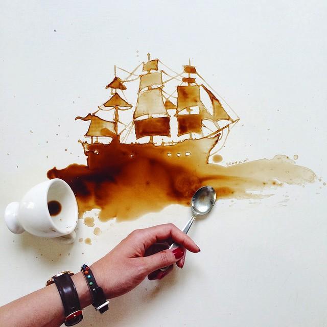 Рисунки по разлитому кофе